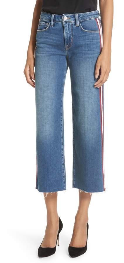 L'Agence Danica Side Stripe Crop Wide Leg Jeans