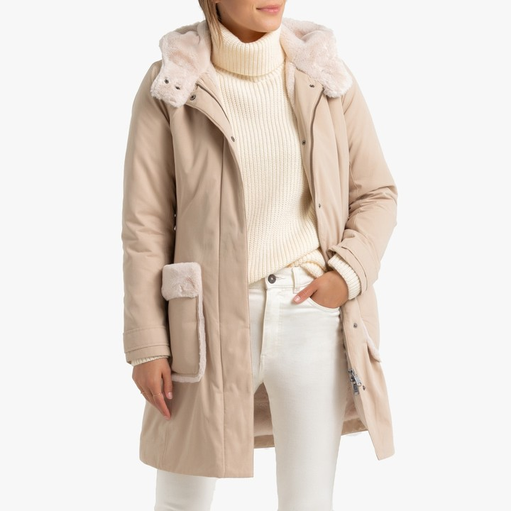 Benetton Mid-Length Hooded Coat with Faux Fur Trim