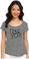 TWO by Vince Camuto Short Sleeve New York Line Drive Stripe Tee