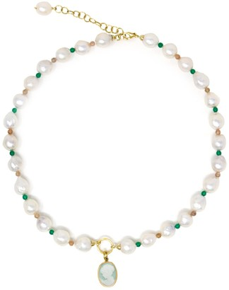 Vintouch Italy Little Lovelies Gold-Plated Pearl & Bead Green Cameo Necklace