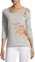 Johnny Was Floral-Embroidered Sweatshirt, Gray
