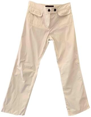 Louis Vuitton Ecru Cotton Trousers for Women