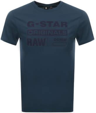 G Star Raw Logo T Shirt Blue