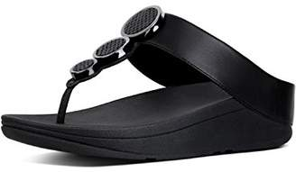 FitFlop Women's Halo Tm Toe Thong Sandals Flip Flops, Black 001