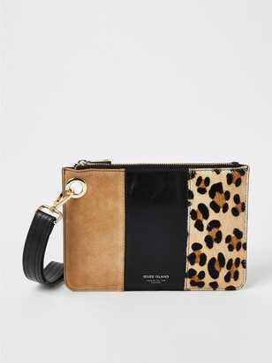 River Island Leather Animal Print Pochette - Beige