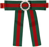 Gucci Red and Green Jewelled Web Neck Bow