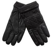 Jeff Banks Black Leather Quilted Gloves