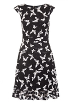 Quiz Black and White Mesh Butterfly Tea Dress