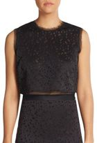 Elizabeth and James Floral Laser-Cut Crop Top