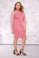 Yours Clothing LIMITED COLLECTION Dusky Pink Turtle Neck Mini Dress With Lace Detail