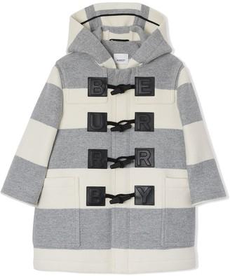 BURBERRY KIDS Logo Detail Striped duffle coat