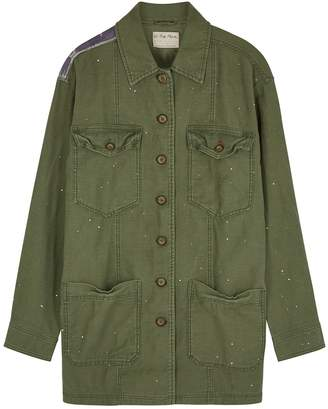 Free People Spruce Army Green Appliqued Cotton Jacket