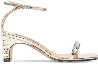 Sergio Rossi 60mm Embellished Croc Embossed Sandals