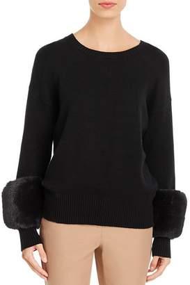 T Tahari Faux-Fur-Cuff Sweater