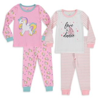 Sol Sleep Baby Girls & Toddler Girls Snug Fit Cotton Long Sleeve Pajamas, 4-Piece PJ Set (12M-4T)