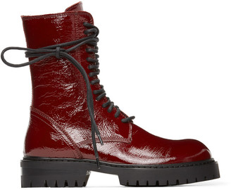 Ann Demeulemeester Red Patent Crinkle Boots