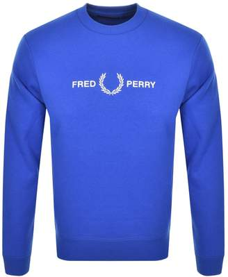 Fred Perry Crew Neck Logo Sweatshirt Blue