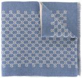 Gucci logo pattern knit scarf - men - Wool - One Size