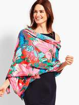 Talbots Tropical Floral Tasseled Occasion Wrap