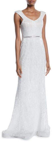 Jovani Sequin V-Back Sleeveless Gown