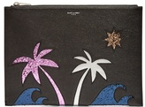 Saint Laurent Palm Tree-embellished Leather Pouch