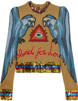 Gucci Appliquéd Sequin-embellished Intarsia Knitted Sweater - Sky blue
