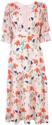 Borgo de Nor Floral Print Flared Dress