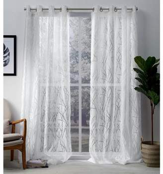 Exclusive Home Edinburgh Branch Grommet Top Sheer Window Curtain Panels