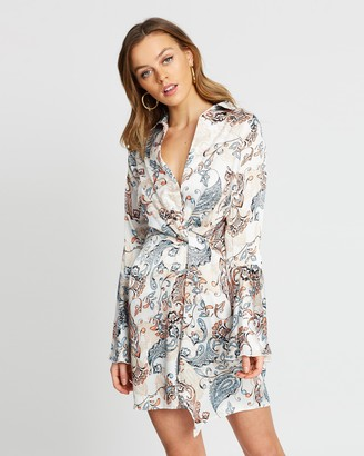 Missguided Floral Paisley Satin Twist Front Dress