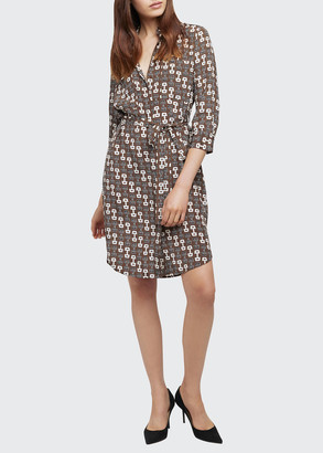 L'Agence Stella Buckle-Print Silk Shirtdress