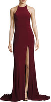 Faviana Sleeveless Open-Back Crepe Gown, Wine