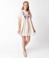 Unique Vintage 1970s Style Nude & Floral Embroidered Short Sleeve Flare Dress