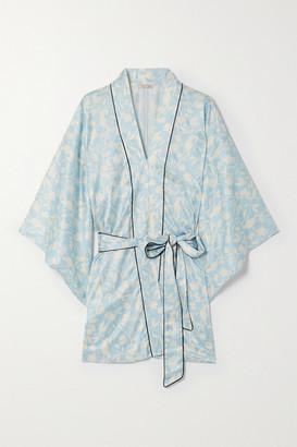 Morgan Lane Nia Floral-print Satin Robe - Blue