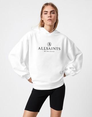 AllSaints Unite Jen relaxed logo hoodie in white