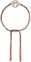 Carolina Bucci Capricorn Lucky Zodiac 18-karat Rose Gold, Diamond, Mother-of-pearl And Silk Bracelet