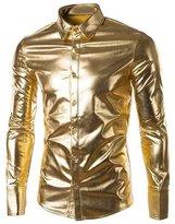 SILKQA Men's Regular-Fit Solid Color Dance Prom Dress Shirt (M, )