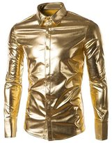 SILKQA Men's Regular-Fit Solid Color Dance Prom Dress Shirt (S, )