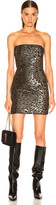 HANEY Naomi Mini Dress in Gold & Black | FWRD