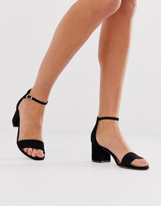 Aldo leather mid block heeled sandals-Black