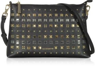 Roccobarocco Ramen Black Studded Large Shoulder Bag