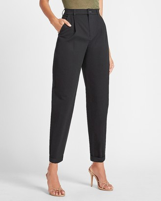 Express Super High Waisted Tapered Twill Ankle Pant