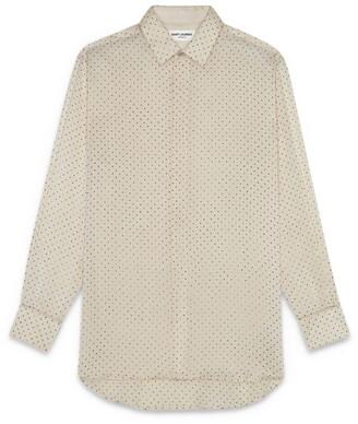 Saint Laurent Silk Polka-Dot Shirt