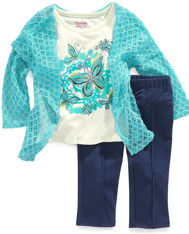 Nannette Baby Set, Baby Girls 2-Piece Long-Sleeved Attached-Cardigan Top and Pants