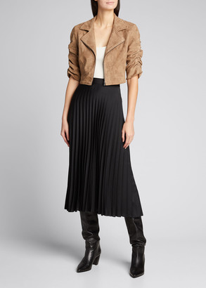 Susan Bender Ruched-Sleeve Cropped Suede Moto Jacket