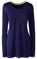 Lands' End Women's Active Long Sleeve Tunic Top-Bright Eggplant Geo