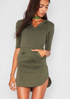 Missy Empire Nada Khaki Jersey Pocket Hoodie Curve Hem Dress