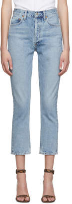 A Gold E Agolde AGOLDE Blue Riley Hi Rise Straight Crop Jeans