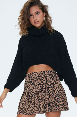 Forever 21 Pleated Leopard Print Skirt