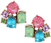 Betsey Johnson Gold-Tone Multicolor Crystal Cluster Stud Earrings