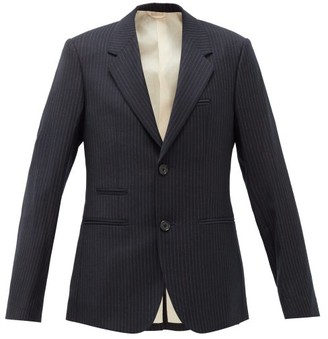 Raf Simons Pinstriped Single-breasted Wool Blazer - Womens - Dark Navy